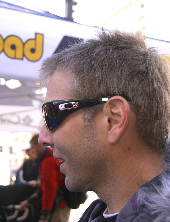 Oakley PR guru Steve Blick was also seen rocking the pit areas with some one-off casual shades complete with California-themed Oakley icons.