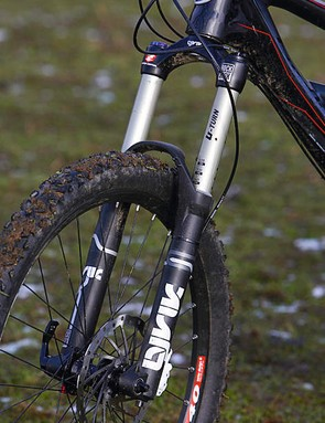 The heavy RockShox Lyrik coil fork and fragile featherweight tyres are a curious combination
