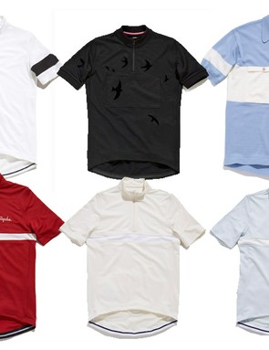 Rapha's (top, from left) Classic, Swift, Campion and (bottom row) Club jerseys