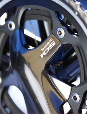 Shimano 105 Black does the honours for gear changing, transmission and braking responsibilities with real style and function