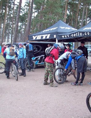 Riders get set up at the Cotic stand