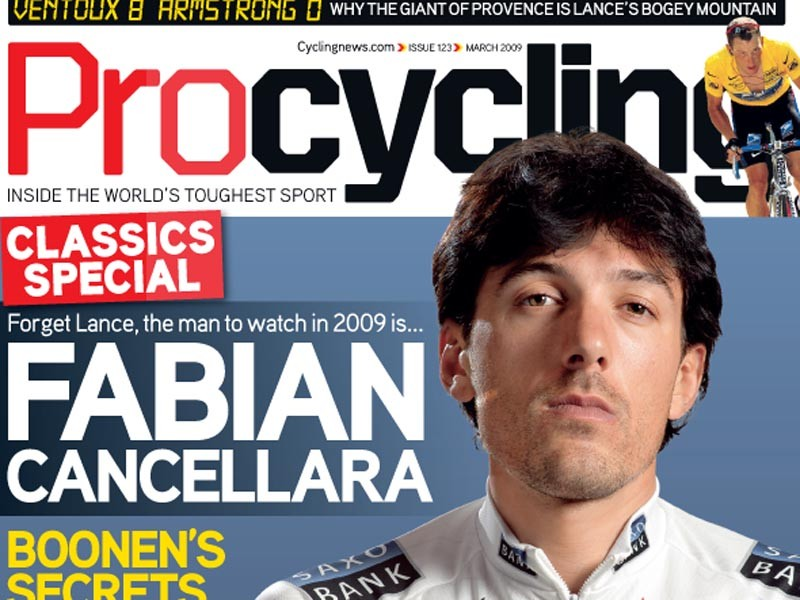 Swiss star Fabian Cancellara is the latest Procycling cover boy.