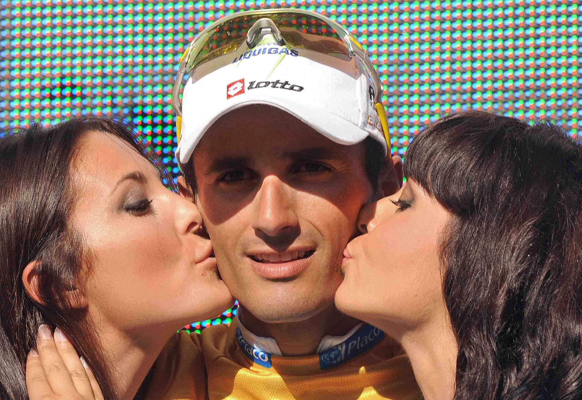 Italian sprinter Daniele Bennati (Liquigas) enjoys his day on the Vuelta podium in September 2008.