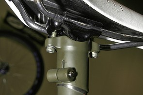 The custom head is made of stainless steel and uses Thomson cradles and hardware.