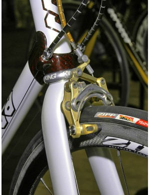 Craig Edwards' eebrake makes an appearance in gold trim at either end of the Serotta Meivici SE show bike.