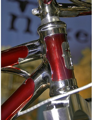 The nickel-plated head tube lugs are fitted with Chris King's new InSet headset format.