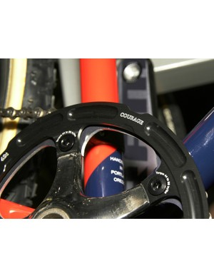 The show bike was also fitted with an outer chainring guard of Courage builder Aaron Hayes' own design.