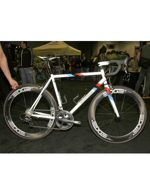 Courage also showed off this gleaming white road bike.