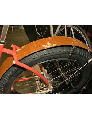 Laminated wooden fenders were handmade by Jeff Hantman of Halfwheel Fenders.