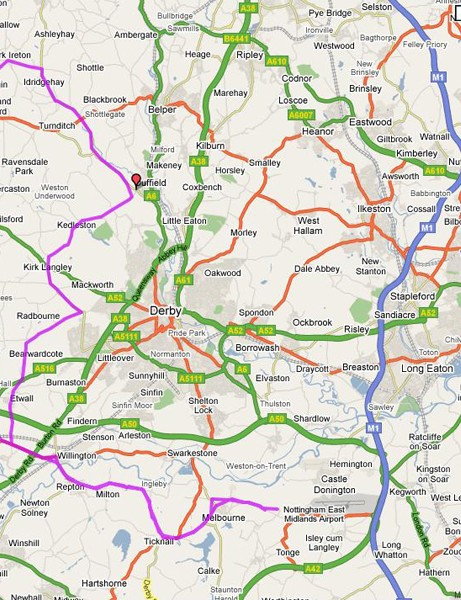 Route of the 100km Cycling Plus sportive