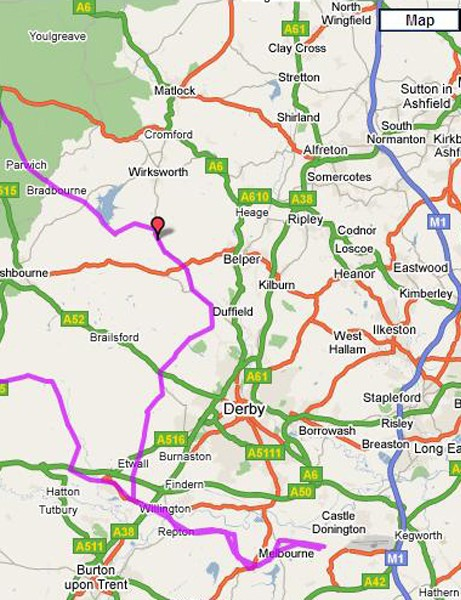 Route of the 100-mile Cycling Plus sportive