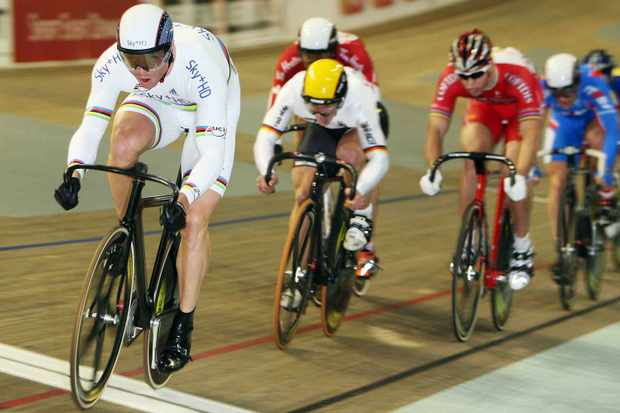 Sir Chris Hoy of Great Britain and the SKY+HD team crosses the line to win a heat in the Men's Keirin event during day two of the UCI Track World Cup V on February 14, 2009 in Copenhagen, Denmark.