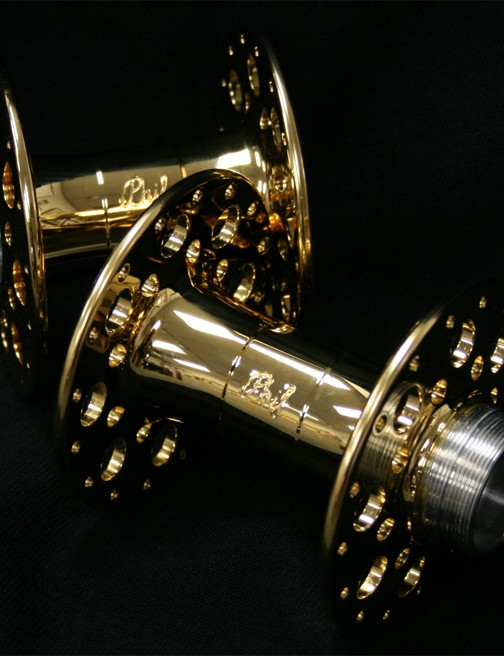 Limited edition Phil Wood 3.5 Track anniversary hubset - gold plated.