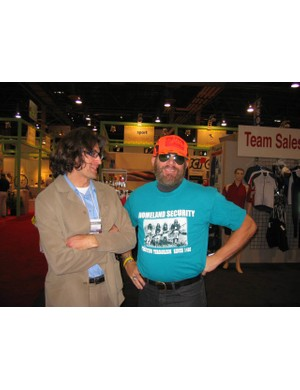 Joe Parkin (L) and Bob Roll, former pro road and mountain bike racers turned authors.