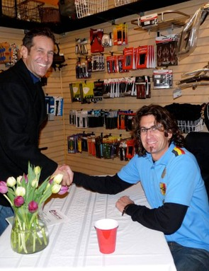 Parkin, during a book signing at The Bicycle Trip in Santa Cruz, California in 2008.