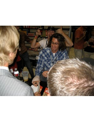Parkin signing his book at the 2008 Interbike show in Las Vegas.