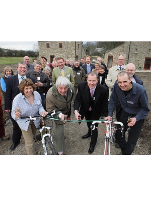 From left-Brenda Price (Owner), John Blackie (County Councillor) David Butterworth (Chief Exec. Yorkshire Dales National Park) Stuart Price (Owner)
