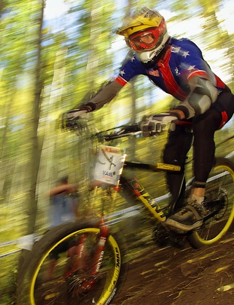 Myles en route to a seventh place finish at the UCI World Championships in Vail, Colorado, in 2001