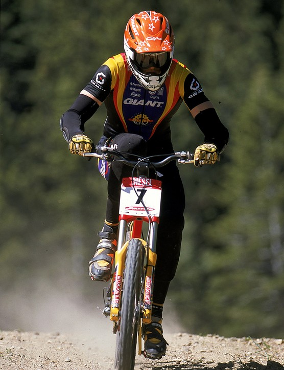 Myles at the Diesel-UCI Mountain Bike World Cup at Snow Summit in Big Bear, California, in 1999