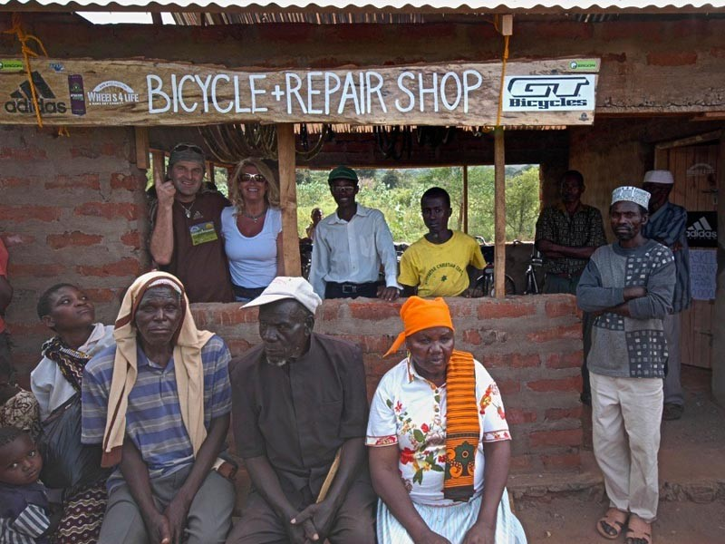 Hans Rey helped set up this bike shop through his Wheels 4 Villages charity