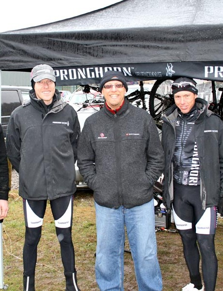 (From left) Head of Pronghorn UK Jeremy Crook, Pronghorn's CEO Kenneth Dalsgard, Future Cycling Editor-in-Chief John Stevenson and Pronghorn team cross-country rider Klaus Nilsen