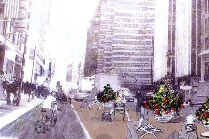 Artist's rendering of a car-free Broadway in New York City.