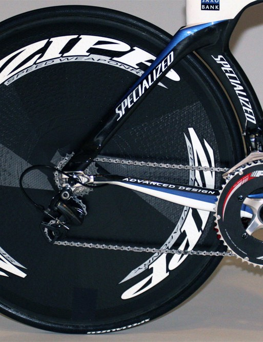 The Zipp 900 rear disc is littered with the company's trademark surface dimples.