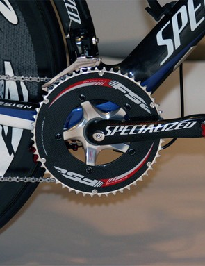 The S-Works carbon crankset is fitted with FSA K-Force TT chainrings.