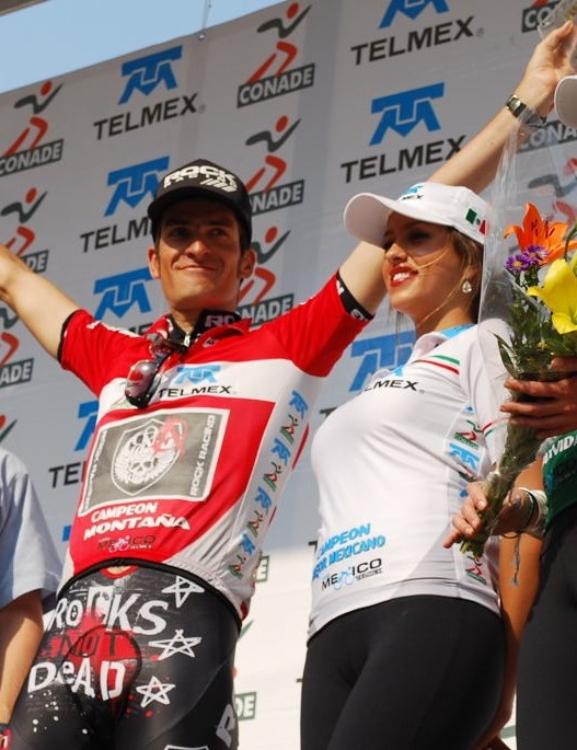 David Vitoria of Rock Racing celebrates his victory in the King of the Mountain classification at the Vuelta Mexico Telmex.