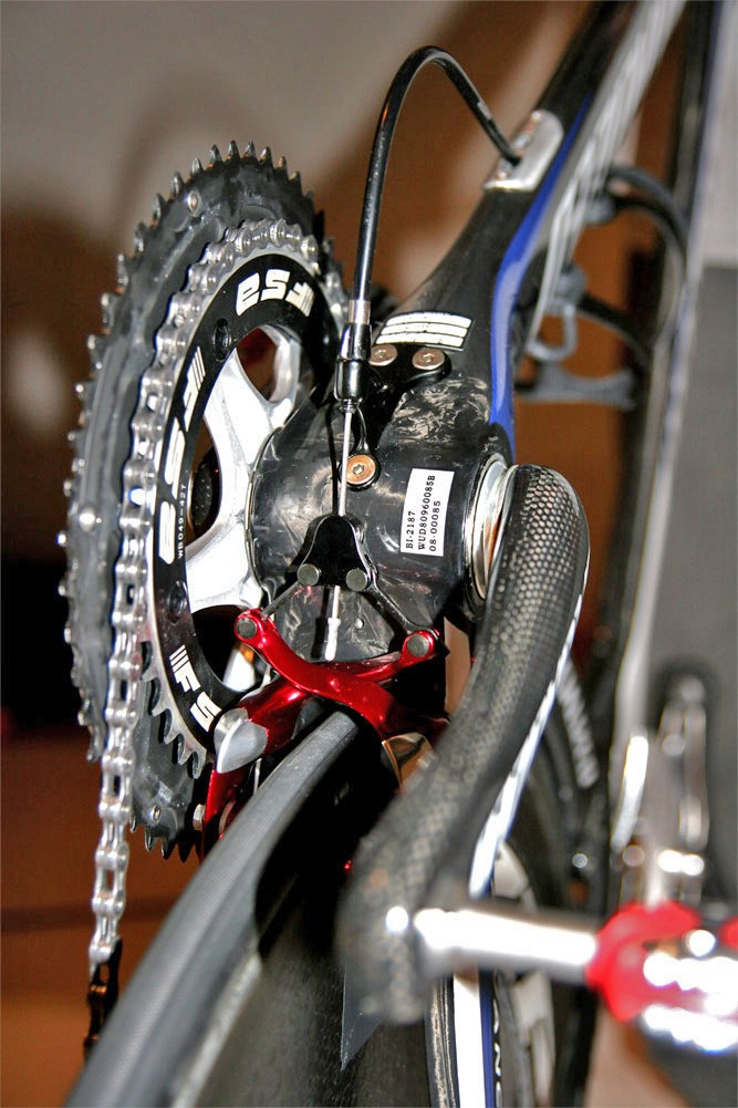 The rear brake is mounted below the chain stays where the air is already turbulent.