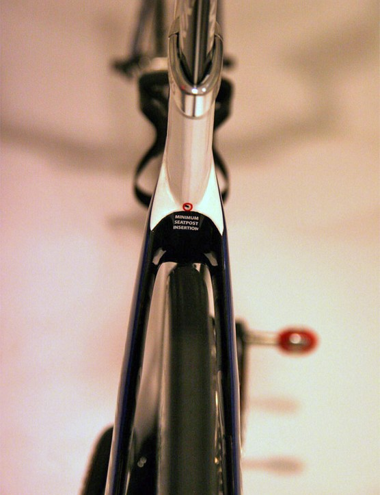 Moving the rear brake allows for cleaner lines at the top of the seat stays.