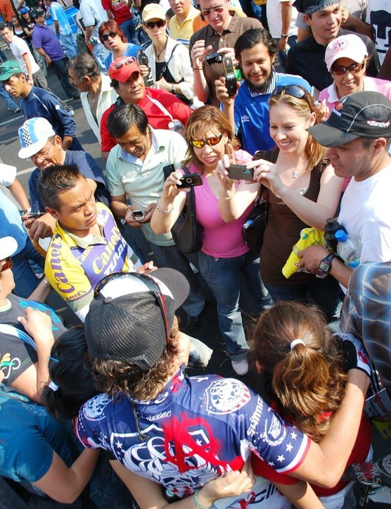 U.S. national road race champion Tyler Hamilton of Rock Racing drew a crowd throughout the eight-day Vuelta Mexico Telmex.