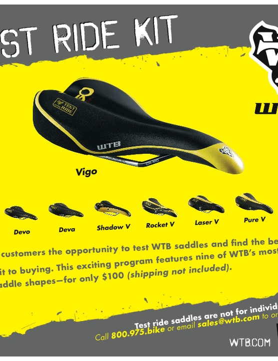 The WTB 'Test Ride Kit' saddle demo programme is availabe at a dealer near you