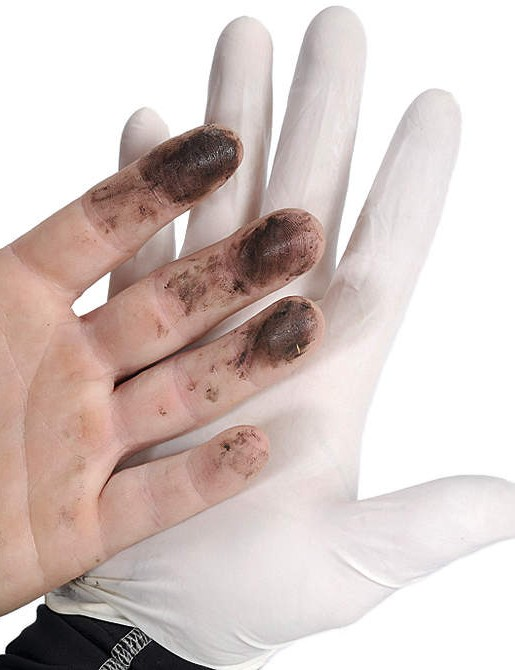 You may not like the thought of wearing rubber gloves, but they will make cleaning up a whole lot easier