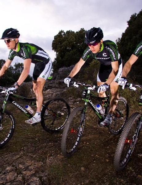 The Cannondale Factory Racing team ride together