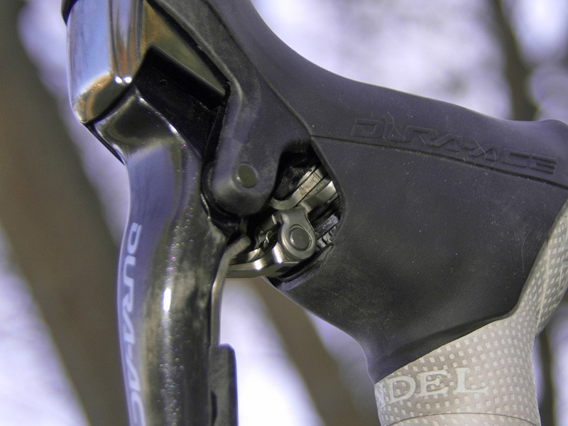 The shifter internals are dangerously exposed to the elements