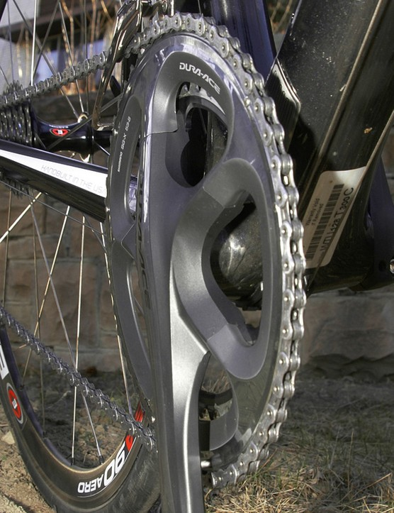 The deep-profile spider arms and incredibly expensive outer chainring yield superb front shifting performance