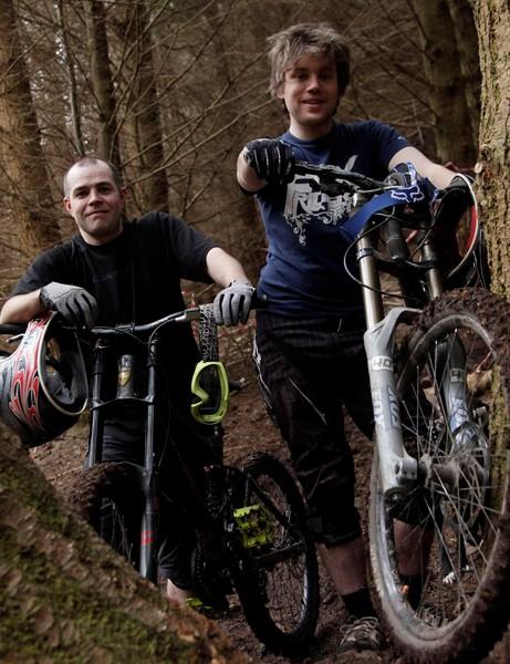 Trail builders Phil Grimes (left) and Carl Davison at Kidland Forest