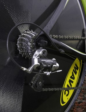 Also like many pros, Basso's time trial bike is equipped with older components than his road bike.