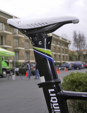 The included carbon seatpost incorporates two offset positions.