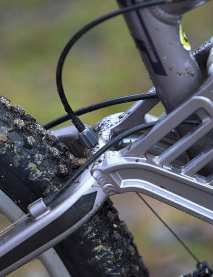 The GT features a barrel adjuster in place of a cable stop for the front mech at the top of the swingarm. Nice touch, we thought. Except… someone seems to have overlooked the fact that there's already an adjuster up at the shifter. And the extra one's in exactly the right place to get seized with mud and grit from the rear wheel, which makes it a bit of a pointless addition from the off