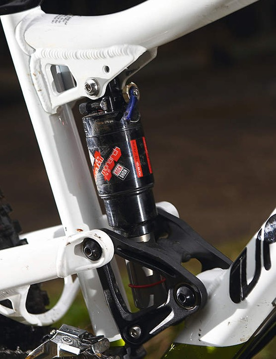 The rocker driven shock gives a very stable pedalling platform