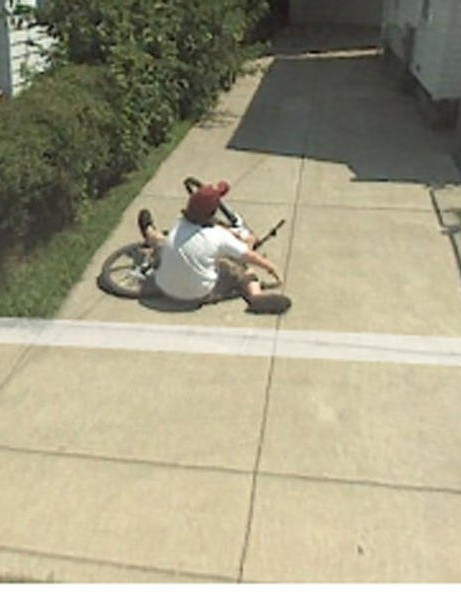 This teenager was caught on camera crashing his bike in Cleveland, Ohio, last year.