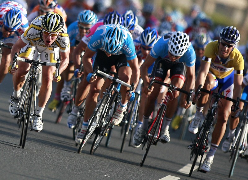 Mark Cavendish (L) is among the favourites for Milan-San Remo, as are Heinrich Haussler (2nd R) and Tom Boonen (R)