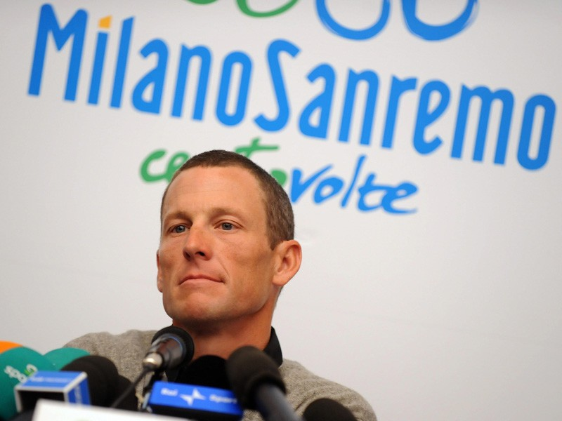 Lance Armstrong gives a press conference prior to Milan-San Remo