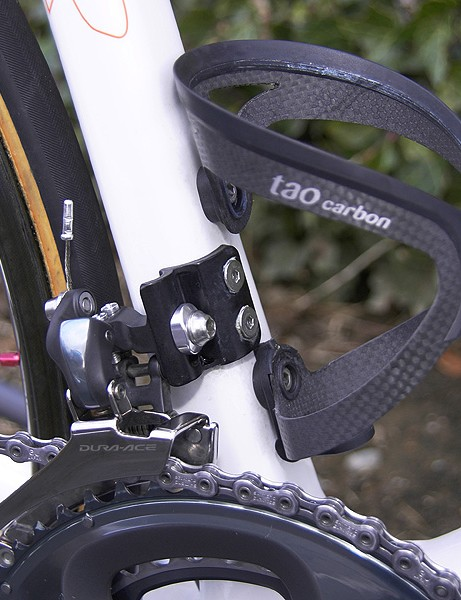 The new front derailleur is bolted to a slim braze-on mount