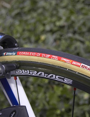 Shimano also provide the team with wheels such as these shallow 24mm-deep carbon tubulars