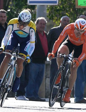 Spain's Alberto Contador (L) of Astana advances on Spain's Markel Irizar of Euskaltel team during the second stage time trial of the 24th Tour of Castilla y Leon.