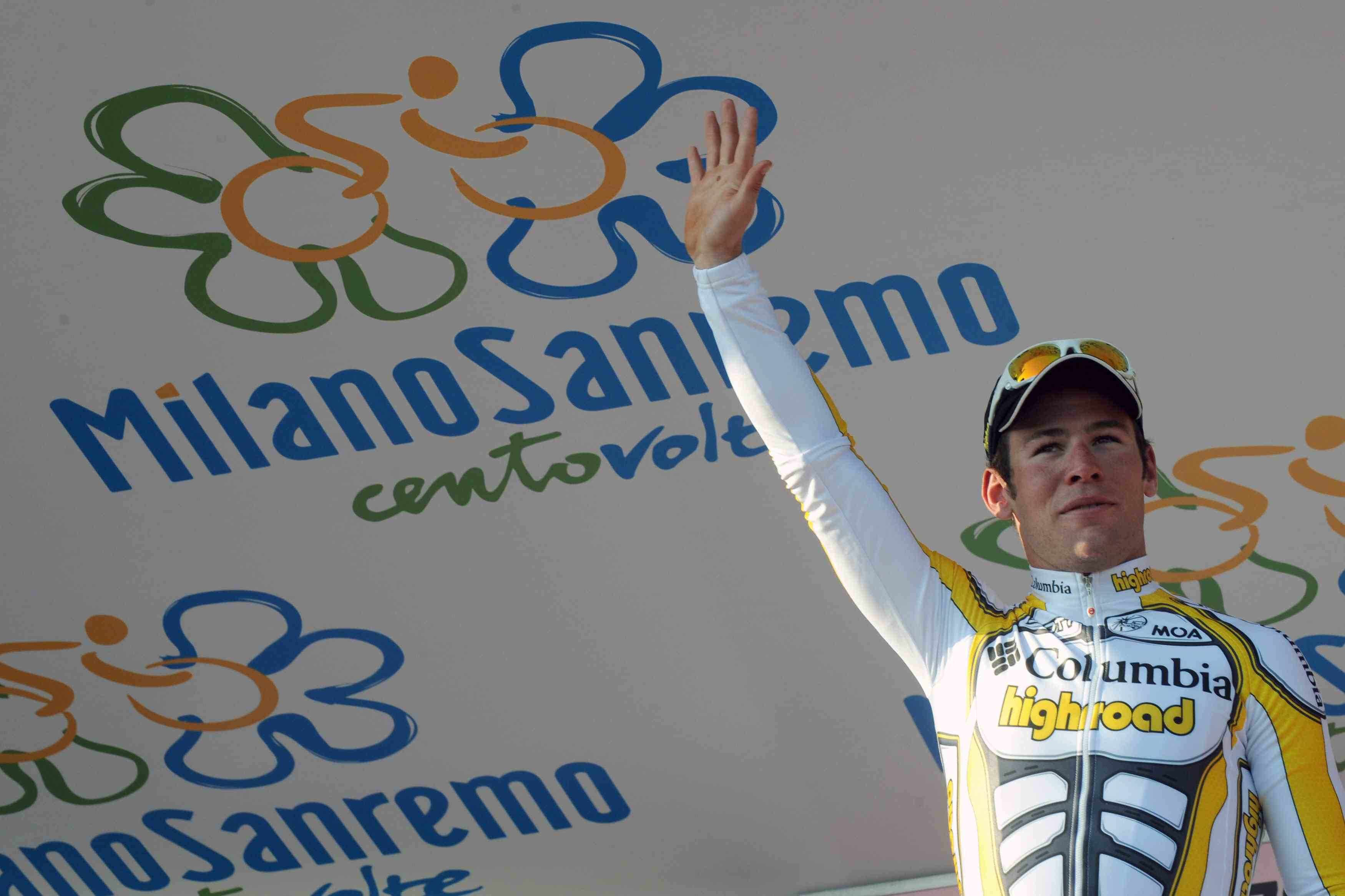 Mark Cavendish enjoys the winner's podium at Milan-San Remo.