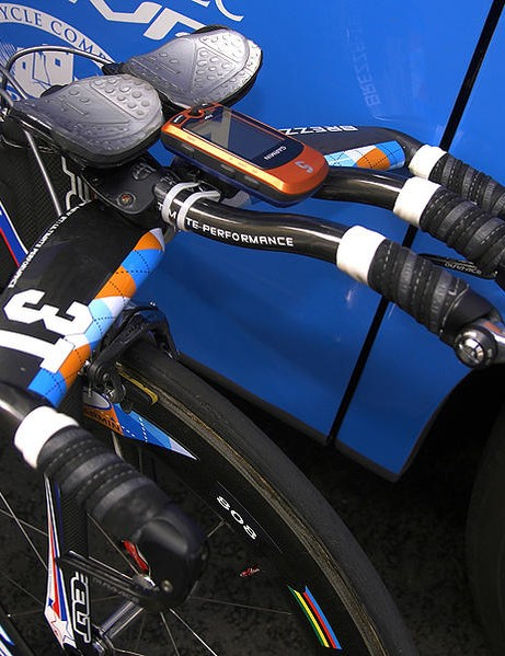 Garmin-Slipstream racer Dave Zabriskie used a 3T Brezza LTD integrated aero bar to achieve his trademark flat-back time trial position during the 2009 Tour of California prologue and individual time trial.